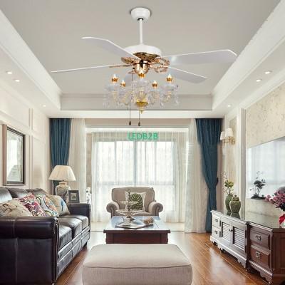 Luxury crystal fan light ceiling
