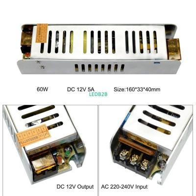 LED Power Supply DC12V 24V 60W 10