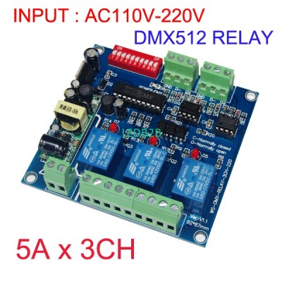 10pcs 3CH*5A DMX512 relay input A