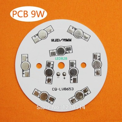 9W LED PCB, 78mm for 9pcs LEDs, a