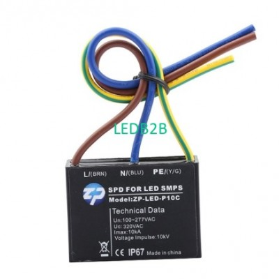 LED surge protector device with p