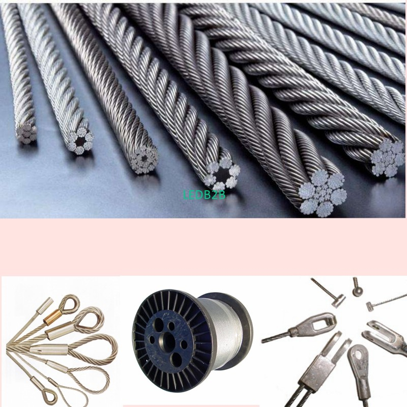 Loop and terminal wire rope,for lighting, display and hanging